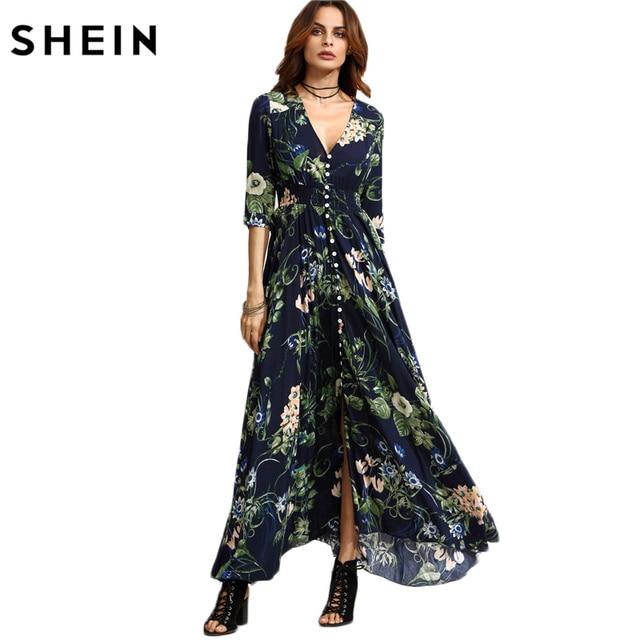f4fb1d73c4bd1 SHEIN Long Floral Maxi Dress Boho Long Dress Elegant Beach Navy Floral  Print Half Sleeve Button Front A Line Shirt Dress