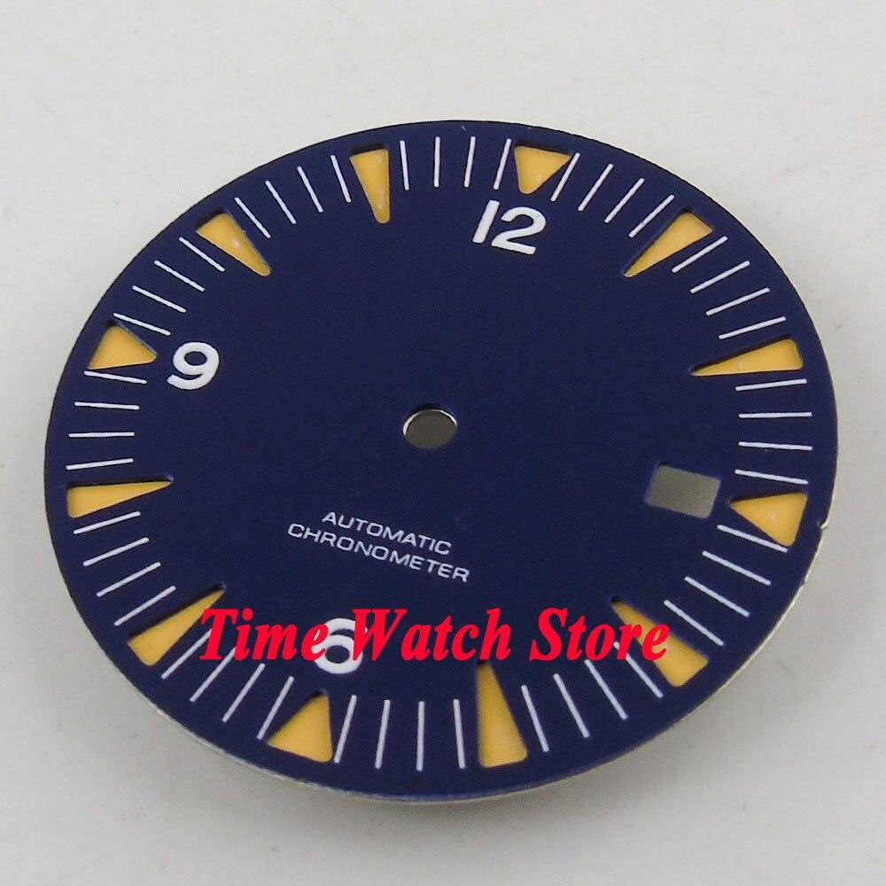 31mm blue sterial dial luminous orange marks Watch Dial fit ETA 2824 2836 MIYOTA 8215 821A Automatic Movement D91