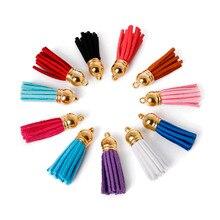 10 шт./пакет 35x38 мм замшевый кожаный кулон кисточка для брелоков/подвески для телефона верхние концевые колпачки наконечник для шнура серьги изготовление ювелирных изделий