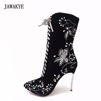 JAWAKYE kid suede gladiator shoes woman crystal embroidery flower decor silver high heels lace up ankle boots women botas