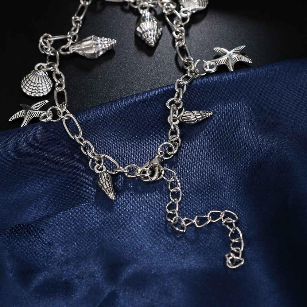 Vintage gümüş halhal kadınlar için denizyıldızı kabuk kolye halhal yaz plaj ayak bileği Bohemian halhal bilezik bacak takı