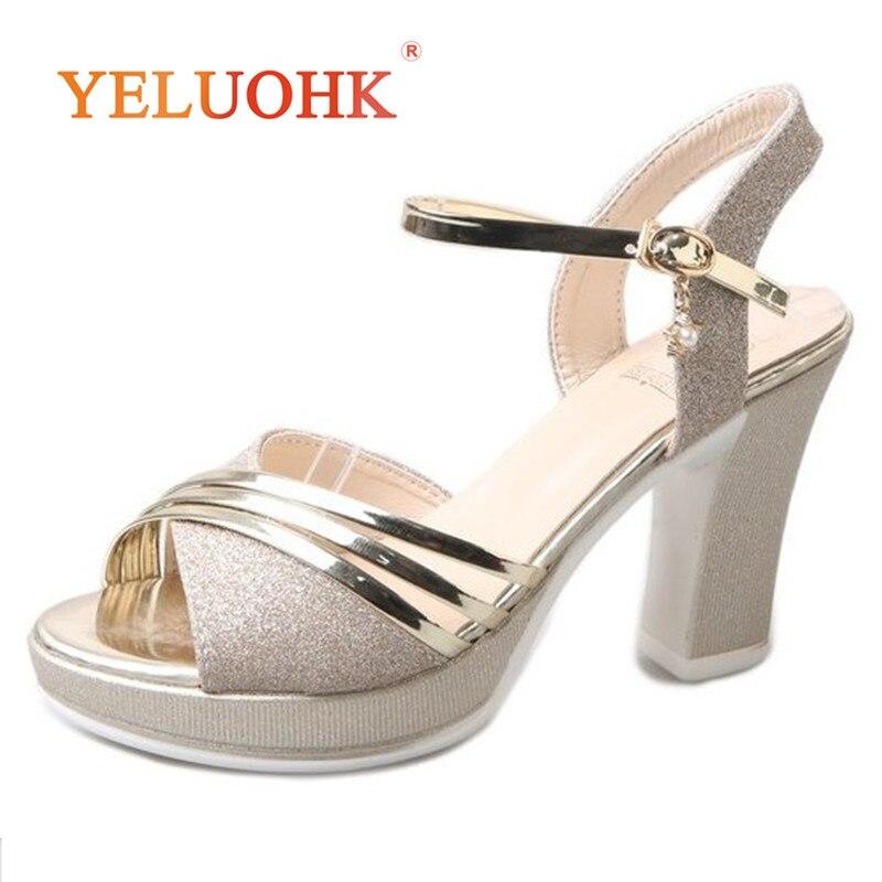 Sandali della piattaforma Delle Donne di Modo 2019 Delle Donne di Estate Scarpe Oro Argento Estremo Tacco Alto Sandali Delle Donne di 10 CENTIMETRI