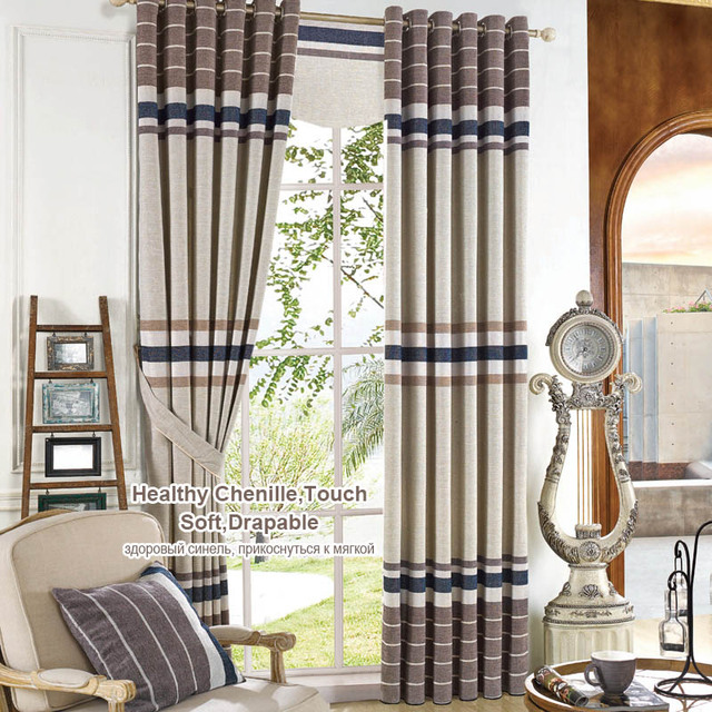 Striped Chenille Curtains Living Room Blackout Window Panels Thick Bedroom  Blind Fabric Window Treatments Decor Panel