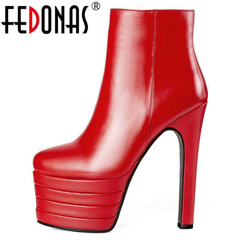 FEDONAS New Sexy Thin High Heels Wedding Party Shoes Woman Zipper Platforms Round Toe Club Pumps Ladies Short Basic Boots cdts shoes woman plus 35 46 summer new ladies crystal dice platforms sandals 20cm thin high heels sexy wedding pumps
