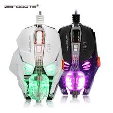 ZERODATE souris de jeu filaire réglable avec lumière LED souris 4000DPI programmation Macro souris de joueur pour PC portable jeu