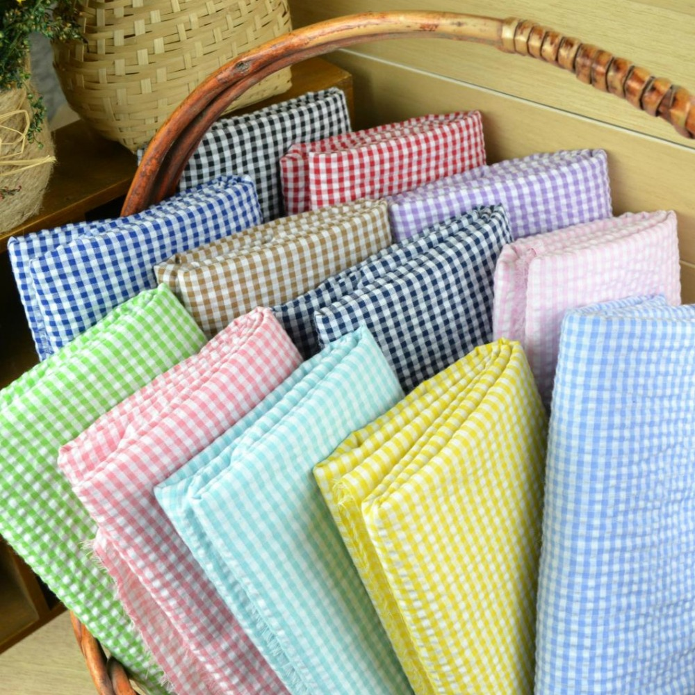 Customized 145cm width Baby Bubble Scotland lattice font b Tartan b font Cotton Chiffon satin Cloth