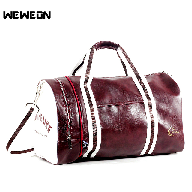 Stylish Sports Training Bag Pu Leather Gym Tote For Men And Woman Fitness Travel Shoulder Bags