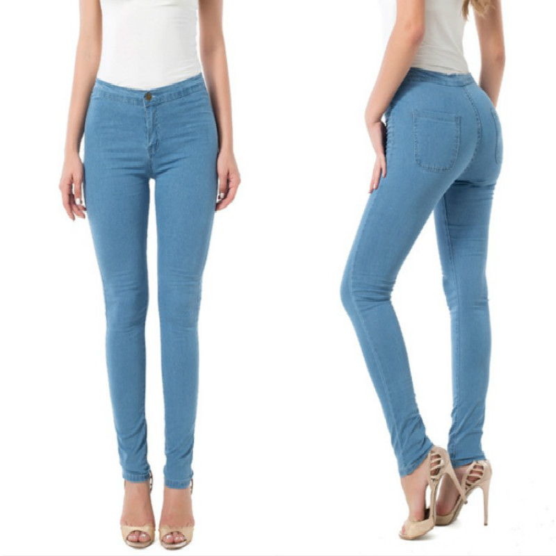 2017 New Fashion Jeans Women Pencil Pants High Waist Jeans Sexy Slim Elastic Skinny Pants Trousers Fit Lady Jeans Plus Size elastic jeans women brand new plus size 3 4 5 6 xl casual slim skinny classic denim pencil pants trousers blue lej11