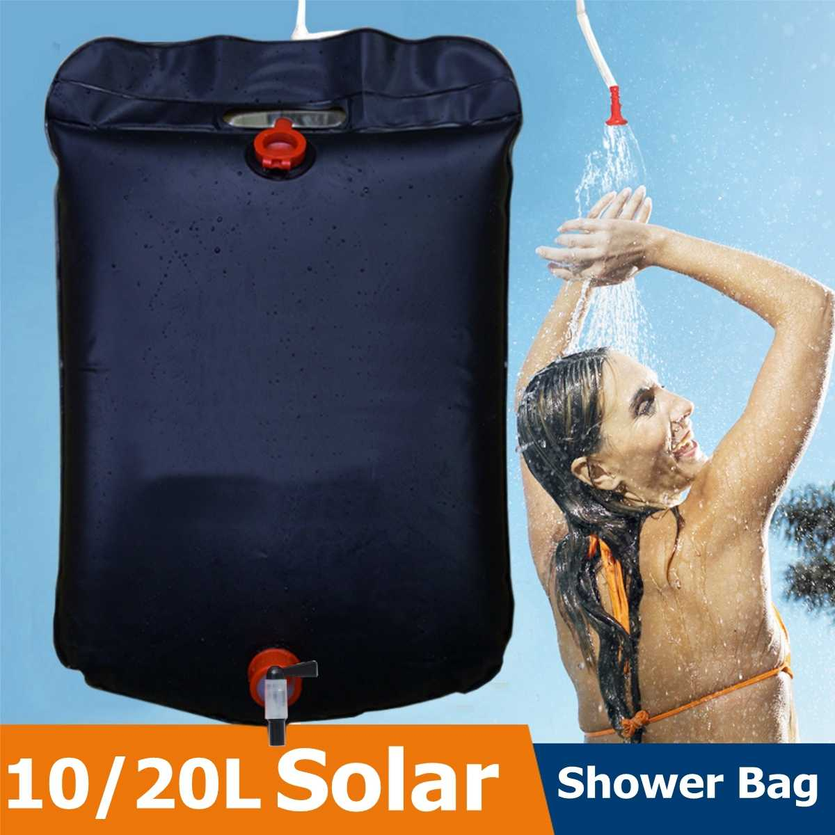 10L 20L Portable Outdoor Camping Shower Bag Solar Heated Shower Bathing Picnic Water Bag Water Storage for Travel Hiking BBQ