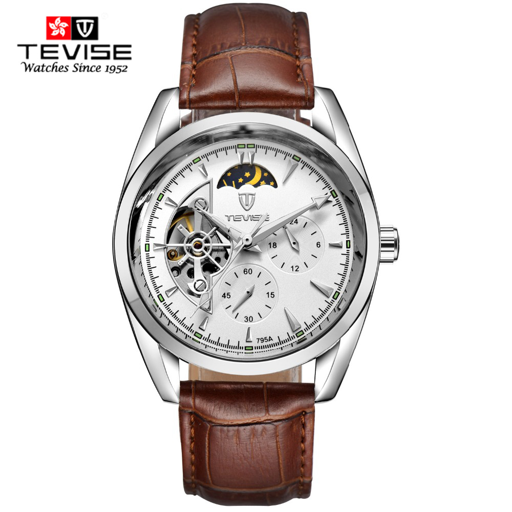 TEVISE Watches Men Luxury Brand Automatic Mechanical Watch Waterproof Perpetual Calendar Leather Wristwatch relogio masculino 01 tevise men watch luxury gold full steel automatic mechanical waterproof watches with date mens wristwatch relogio masculino