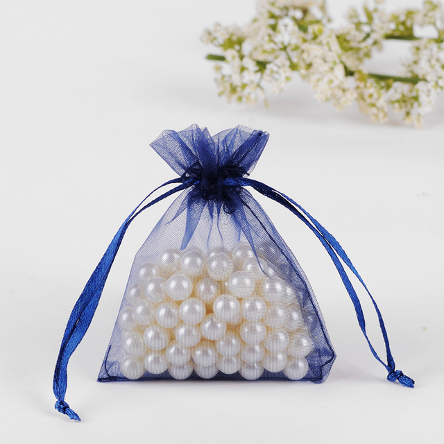 7x9cm Navy Blue Organza Jewelry Gift Bags Cheap Wedding Gift Bags Coffee Beans Bags Customed Logo Printed 100pcs/lot Wholesale