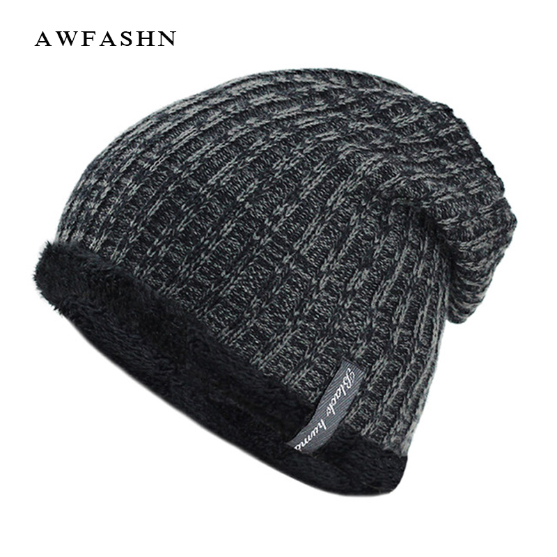 2017 New Fashion Mens Beanies knitted Cap Winter Hat For Women Knit Baggy Cap Warm Add Velvet Wool Hedging Cap Women's Hat Gorro yb27a led ac 60 300v digital voltmeter home use voltage display w 2 wires