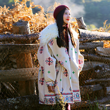 MX136 New Arrival 2016 long oversized mongolian fur collar fleece cotton padded printed vintage thick winter coat women