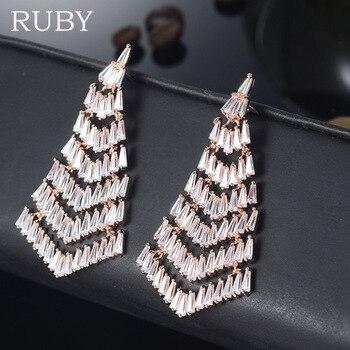 New Brand Luxury Zircon Women Stud Earring Fashion Umbrella 3A Cubic Zirconia Gem Stud Earrings Jewelry  Wholesales