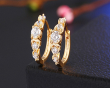 Hot Sale Luxury Gold-Color Hoop Earrings with CZ Stone Fashion Luxury Jewelry for Women Wedding Engagement Gift Free Shipping