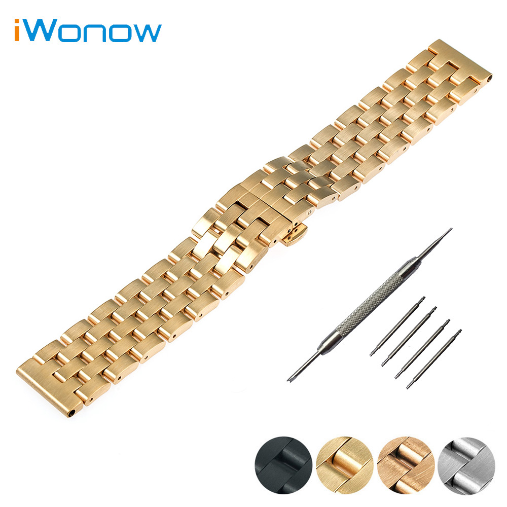 Stainless Steel Watch Band 22mm 24mm for Breitling Butterfly Buckle Strap Wrist Belt Bracelet Black Silver + Spring Bar + Tool stainless steel cuticle removal shovel tool silver
