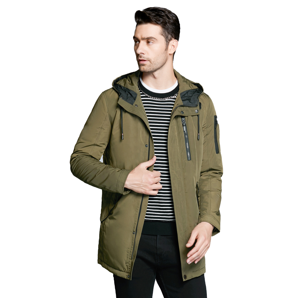 ICEbear 2018 new autumnal men's jacket short casual coat overcoat hooded man jackets high quality fabric men's cotton MWC18228D contrast lining drop shoulder hooded coat