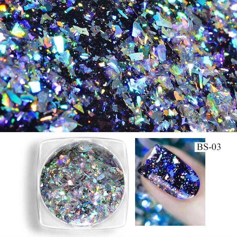 0 1g New Aurora Laser Chameleon Irregular Mirror Magic Powder Film Nail Glitter Decoration Specifical Nail Flake Sequins Powder in Nail Glitter from Beauty Health