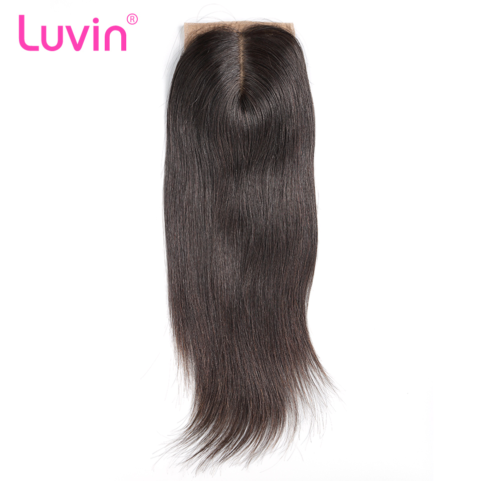 Luvin Peruvian Silk Base Closure Straight 4 x3 5 100 Remy Human Hair Middle Part Bleached