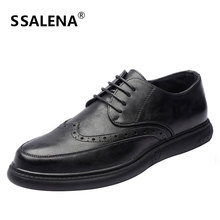 Men Leather Brogue Dress Shoes Male Fashion Business Casual Footwear Male Carve Lace-Up Formal Shoes High Quality AA51549
