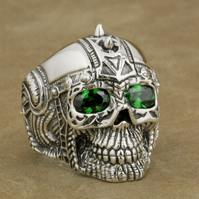 196c205d2120 LINSION 925 Sterling Silver Gothic Tattoo Skull Ring Green CZ Eyes Mens  Biker Rock Punk Style 9G505 US Size 7 to 14