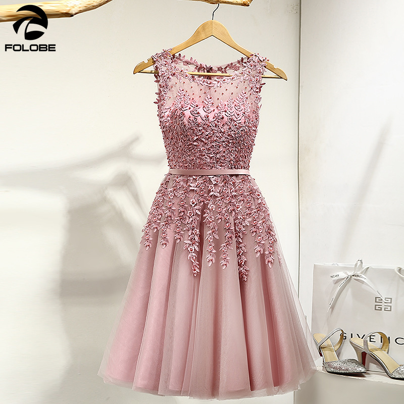 FOLOBE 2019 Hot Sell Elegant Knee Length Women Girls Dresses Appliques Beads Formal Party Dresses Pink