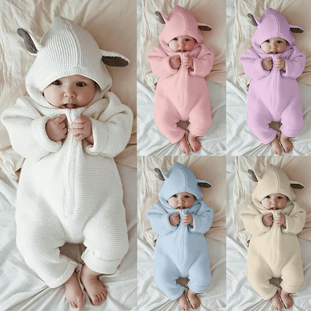 5054e8de0 2019 Newborn Infant Baby Girl Boy Clothes Cute 3D Bunny Ear Romper ...
