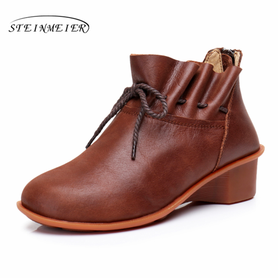 Genuine Leather Ankle Boots Comfortable quality soft Shoes Brand Designer Handmade brown coffee 2017