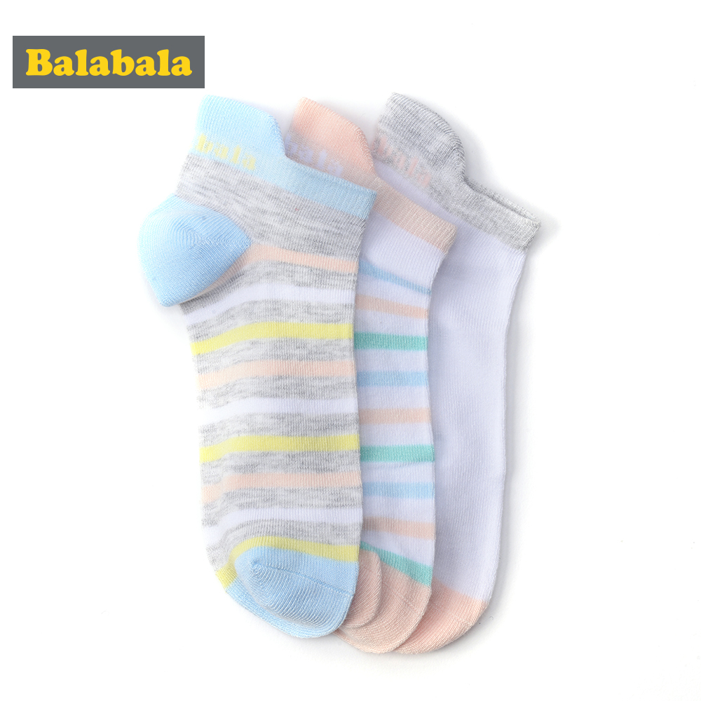 Balabala 3 pairs/lot girls socks summer candy color Casual sock for kid stripe children socks fashion Sport Short Students Socks