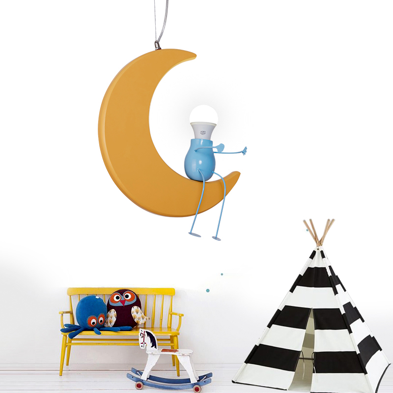 Children lamp Moon Pendant lights cartoon children room bedroom lamp boy girl baby restaurant lamp baby room pendant lamps ZA children s room lamp ceiling lamp led cartoon boy girl warm and lanterns simple eyes princess stars moon bedroom lamps