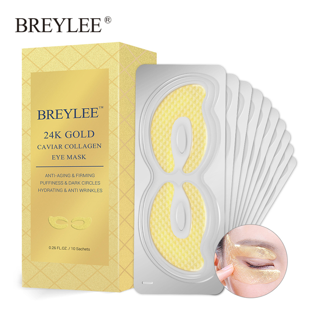 BREYLEE 24K Gold Eye Mask Caviar Collagen Essence New Style Eye Patch Anti Aging Remove Wrinkle