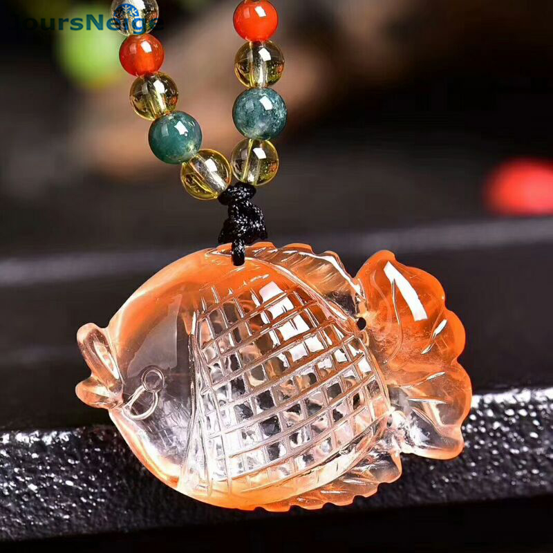 Wholesale Red Rabbit Hair Natural Crystal Pendants Fine Hand Carved Fish Pendant Sweater Chain Necklace for Women Men Jewelry men and women lovers style pure hand carved hollow out god beast pendant necklace sweater chain