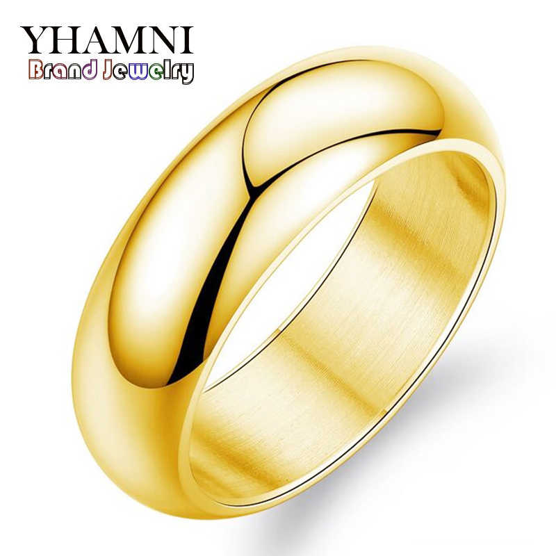 YHAMNI Original Luxury Pure Gold Ring Engagement Wedding Rings For Women Couples Stainless Steel Gold Color Rings JZR050