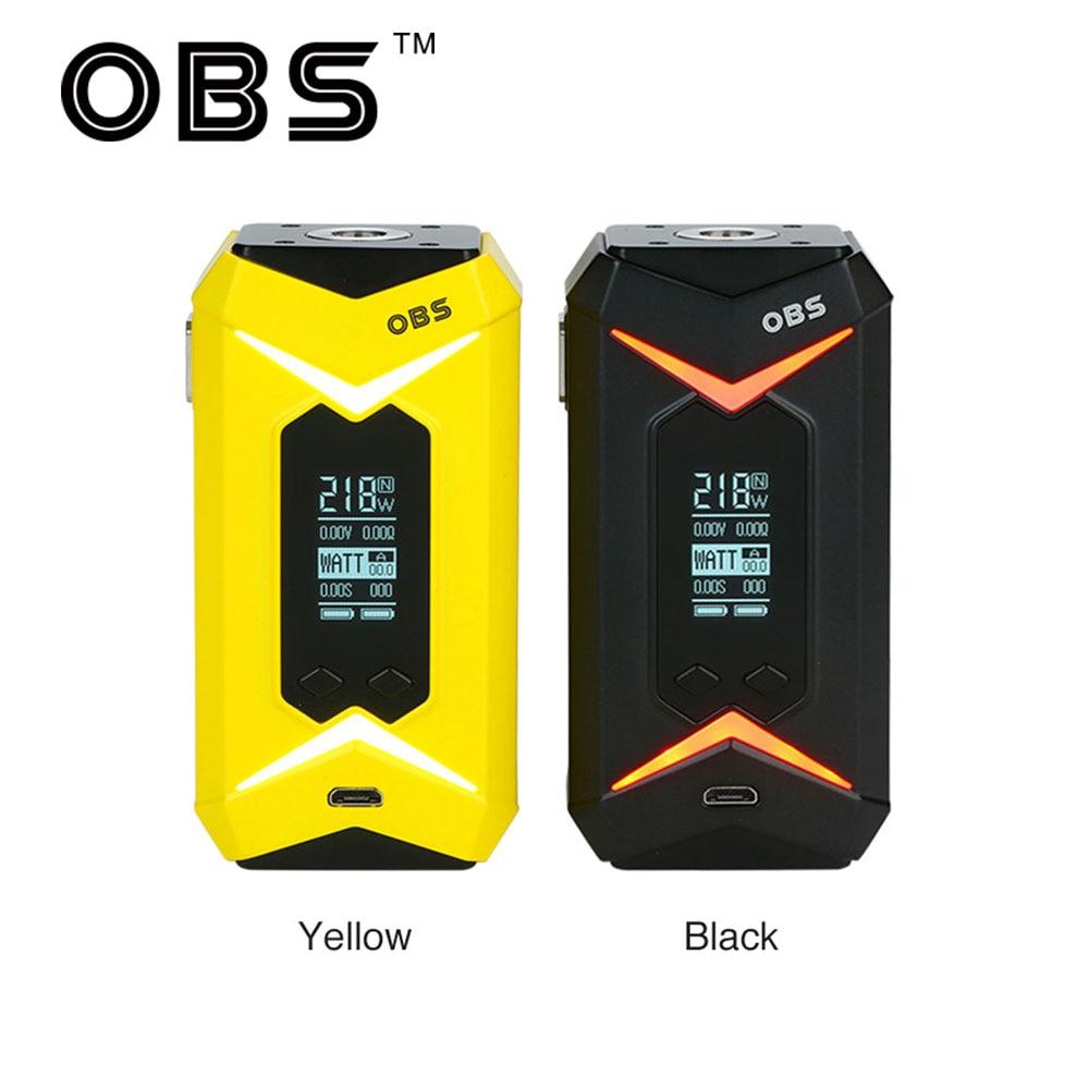 Original OBS Bat 218W TC MOD Max 218W Output 7-color LED Light & Ergonomic Design E-cig Vape Bat box MOD No Battery Included