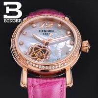 Switzerland Brand Luxury Women Rhinestones Watches Self wind Hollow Crystals Wrist watch Real Leather Orchid Flower Watch Shell
