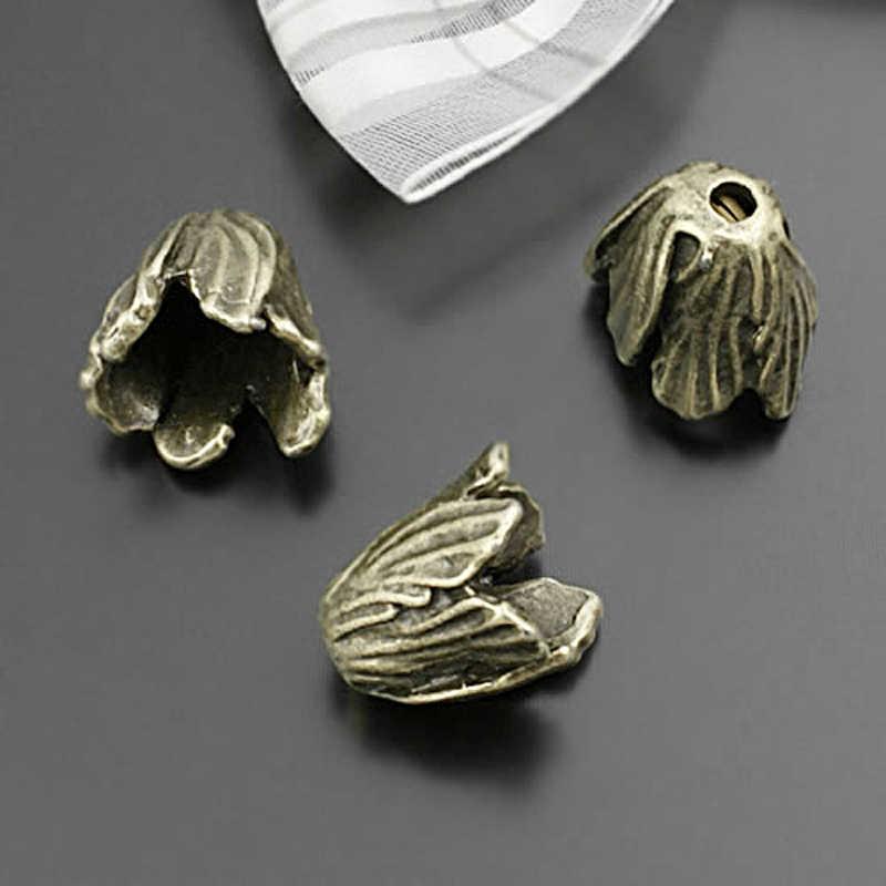 (28459)10 pièces 15MM, hauteur 14MM Antique Bronze en alliage de Zinc feuille perles casquettes gland casquettes bijoux à bricoler soi-même résultats accessoires en gros
