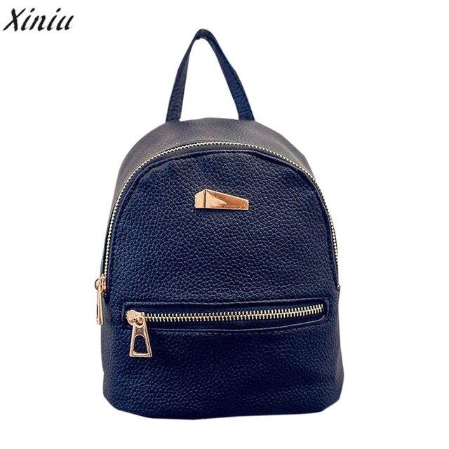 XINIU 2018 Women Backpacks Brand Design Fashion Black High Quality Leather  Backpack Travel For School Bags 9fb332784dd5c