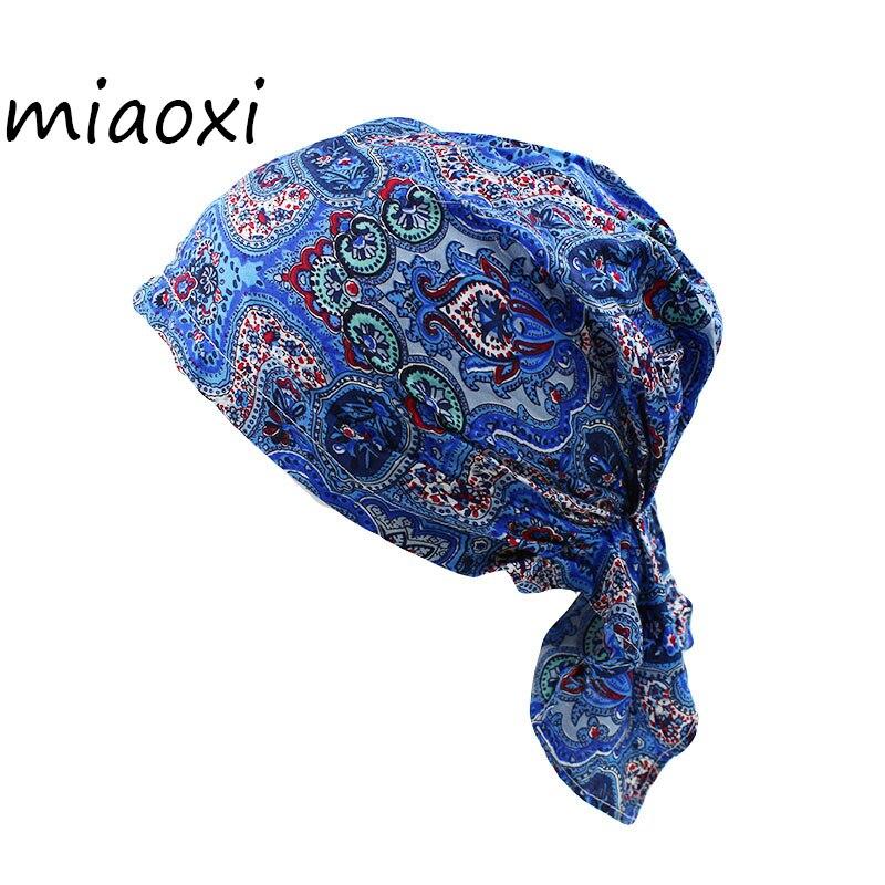 [miaoxi] New Hip Hop Euramerican Pop Women Floral Headscarf Female Fashion Bandanna Cap Ladies Working Spring Adult Beanies