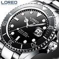 LOREO мужские деловые автоматические механические часы, мужские наручные часы, наручные часы из нержавеющей стали, мужские часы для дайвинга, ...