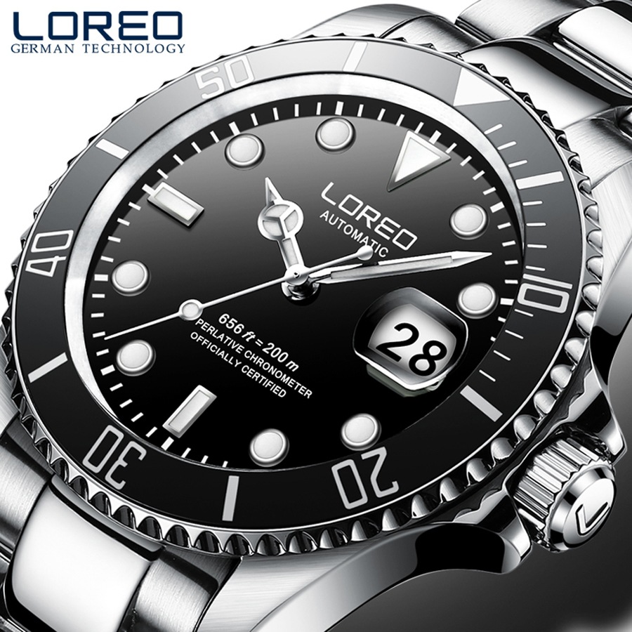 LOREO Men's Business Automatic Mechanical Watch Men Wrist Watches Wristwatch Stainless Steel Diving Male Clock Men Relogio|Mechanical Watches| |  - title=