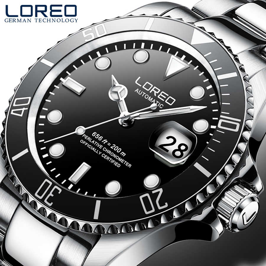 LOREO 男性のビジネス自動機械式時計男性腕時計腕時計ステンレス鋼ダイビング男性時計男性レロジオ