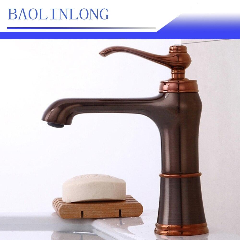 BAOLINLONG Antique Style Brass Deck Mount Bathroom Basin Faucet Vanity Vessel Sinks Mixer Single Bath Faucet Tap