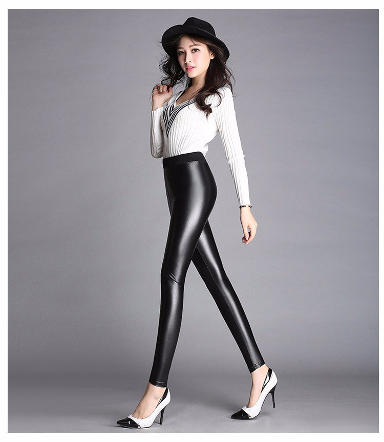 2016 Women Spring Autumn Skinny PU leather pencil Leggings slim Faux Leather Black Sexy Pants female High Waist trousers A651 e