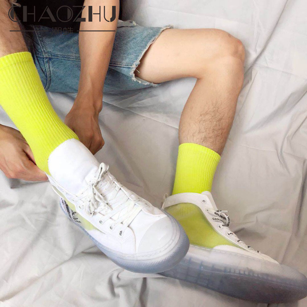 Fashion Summer Autumn Bright Neon Color Red-Orange White Street Cool Hip Hop Fluorescent Red Yellow Unisex Photography Socks