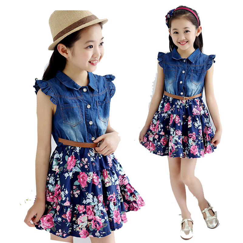 New Kids Girls Summer Clothes Denim Patchwork Floral Dresses For Teens Girls Dress 2018 Clothing 4 6 7 8 9 10 11 12 Years Old 39 girls dresses fruit design pineapple orange dress summer kids clothes flower print for kids age 5678910 11 12 13 14 years old