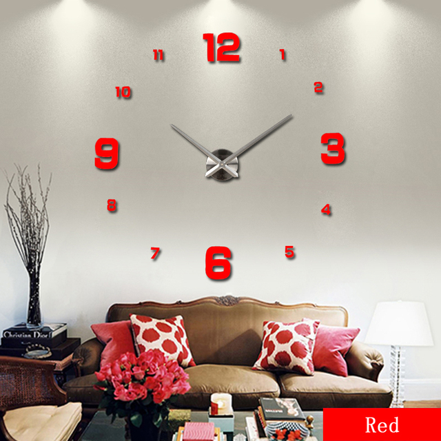 2016 free shipping new real metal 3d diy acrylic mirror wall clock watch clocks home decoration modern needle quartz stickers