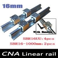 Экспресс Доставка: 2 шт. SBR16 L 1000 мм линейный подшипник Rails + 4 шт. SBR16UU Линейное движение подшипника Конструкторы (можно вырезать любой длина)