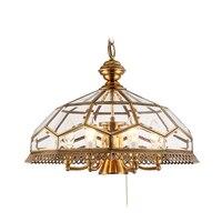 Американский стиль Медь тела светодио дный подвесной светильник Dia.50cm 7 свет американского стекла Тень висит свет Toolery E14 светодио дный лампы