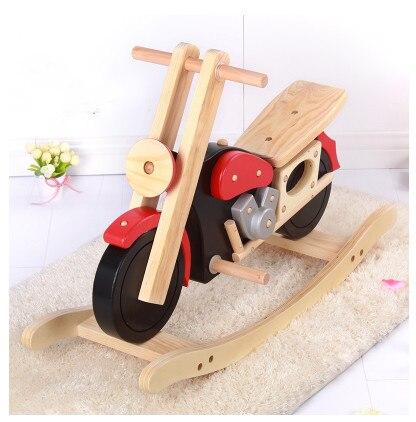 Встряхнуть ребенка безопасности Trojan легко монтируется массивная деревянная игрушка мотоцикл верховая езда