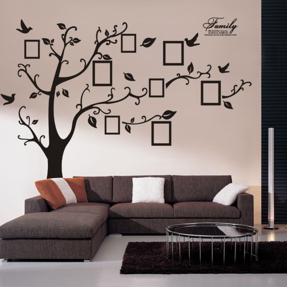 Black memory tree wall art mural decor sticker wall graphic poster large tree with picture frame